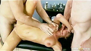 Big Tit Brunette MILF Is Double Penetrated Hard In Rough Threesome