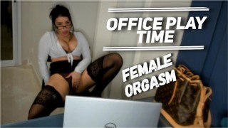 Sexy Secretary Masturbates At Office Female Orgasm – Office Play Time