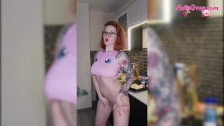 Busty Redhead Dances Naked On Kitchen – Soft Erotica