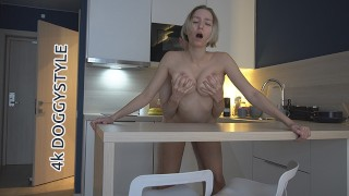 NUDE LADY WITH LONG LEGS ENJOYS STANDING DOGGY