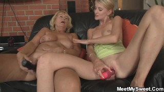 Step-mom Teaching Blonde Girl Toying And Old Cock Riding