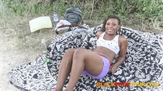 Horny Black Hiker Girl Fucking Outdoors And Sucking Cock In Public
